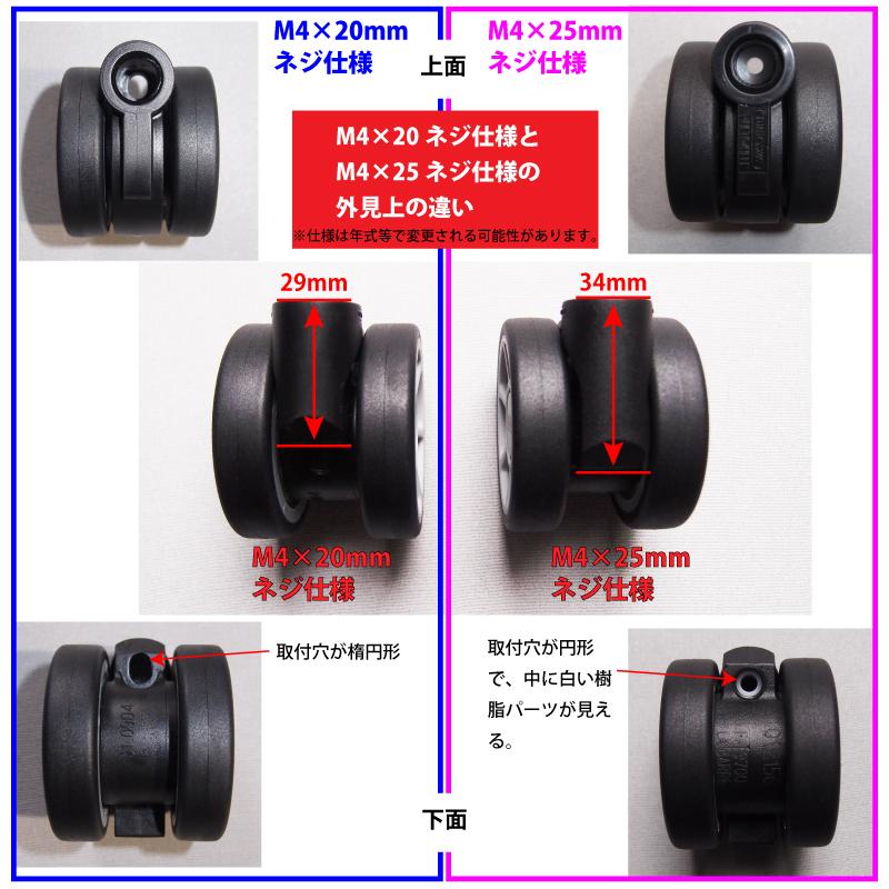 リモワ50mm双輪キャスターM4×20ネジ仕様とM4×25ネジ仕様の違い